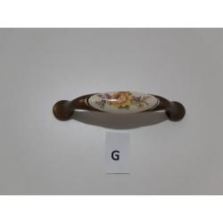maniglia in porecellana, fiore giallo, supporto bronzato -  Ferramenta - Diroshop