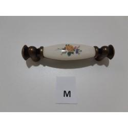 maniglia porcellana,fiore giallo supporto bronzato -  Ferramenta - Diroshop
