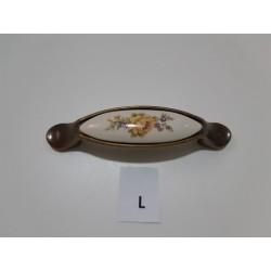 maniglia in porcellana con fiore giallo,inserti bronzati -  Ferramenta - Diroshop