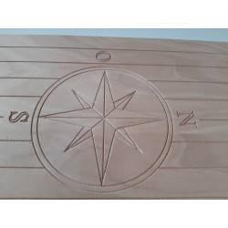 tavolo barca okume 18 mm 75,7 x 48 con rosa dei venti -  Accessori Marini|Tavoli Barca - Diroshop